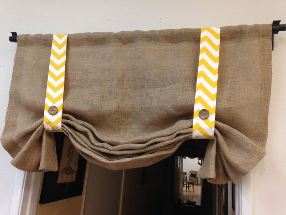 Valance idea - burlap with an accent colored fabric.