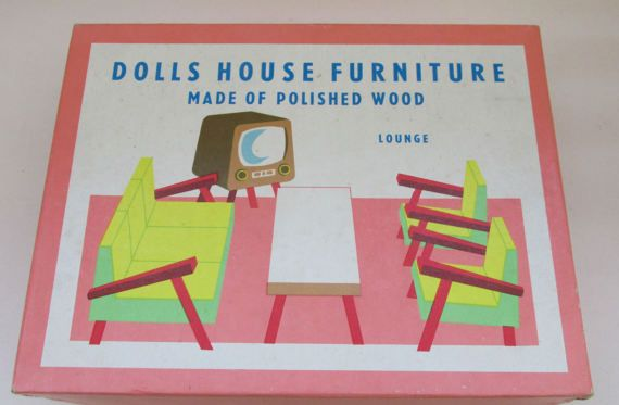 Fabulous Vintage 1960s Tofa of Czechoslovakia Wooden Dolls House Furniture - Boxed Living Room Set
