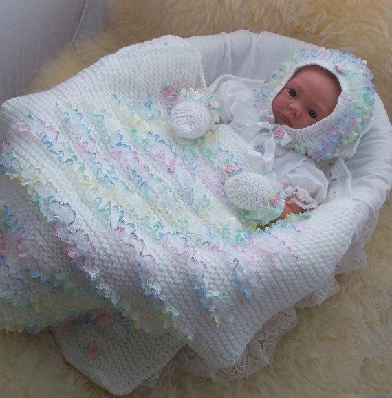 Knitting Pattern Baby Girls Lace Pram Blanket, Bonnet & Mittens - Easy Knit -  Download PDF Knitting Pattern