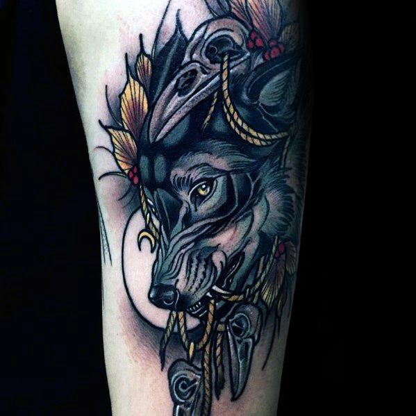 40 Neo Traditional Wolf Tattoo Ideas For Men Wild Designs Wolf Tattoo Wolf Tattoos Popular Tattoos