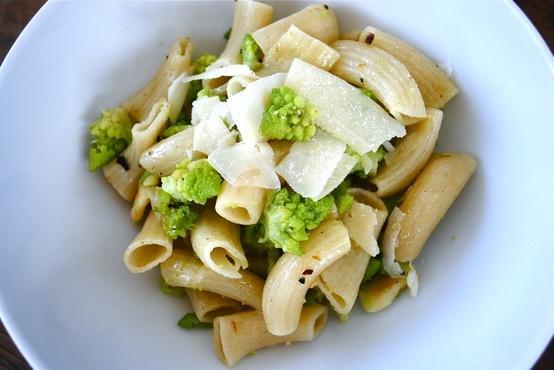 romanesco broccoli parmesan rigatoni with smashed garlic ...