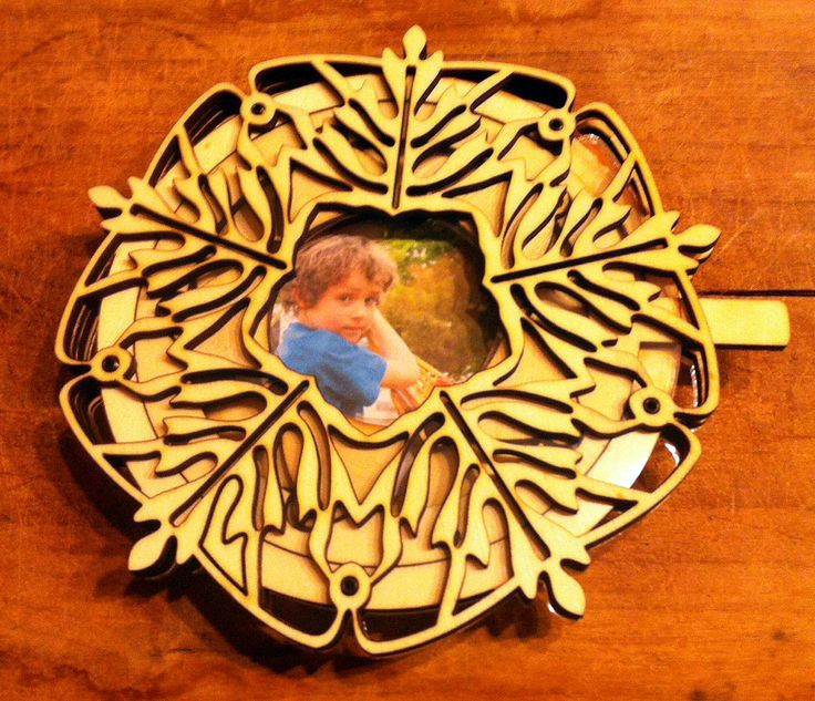 Decorative picture frame with an open/close iris mechanism.