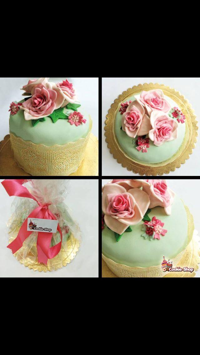 #şekerhamuru #pasta #cake #soft #vintage #çiçek #gül #pembe #yeşil #dantel #lace #gold #altın #cookieshop #cookie #tasarım #design #denizli #istanbul