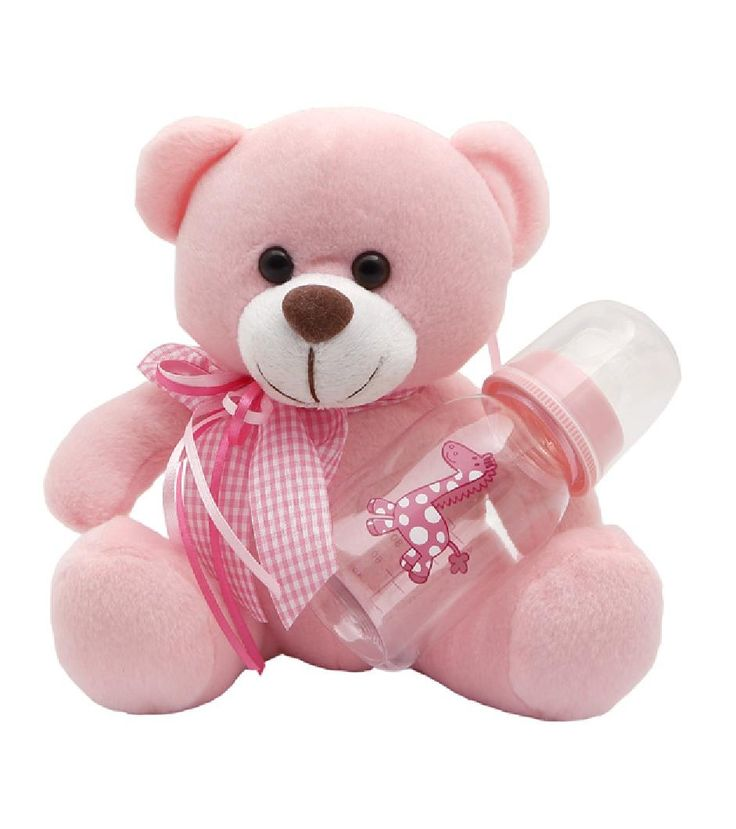 They'll go to bed early with this adorable Teddy Bear.It wears a pink bowtie with baby bottle,this super-soft Teddy will be their bedtime buddy long after they'll admit to it. #NewBaby #TeddyBear