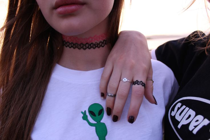 Tattoo Choker Necklaces, Ring and Alien Patch Top