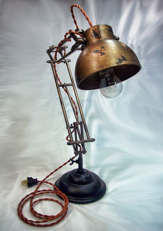 Architects Lamp - Steampunk - Industrial lamp - Desk Lamp - Table Lamp - Edison Light. $165.00, via Etsy.