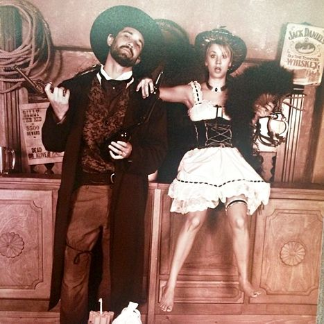 Yee-haw! Kaley Cuoco and her husband Ryan Sweeting managed to turn work into play. Cuoco is filming the movie Burning Bodhi in New Mexico, and her tennis pro beau made the trip out to visit her. They even posed for this adorable dress-up shot!