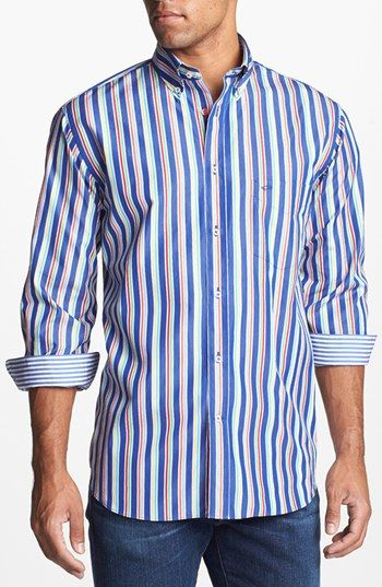 Paul & Shark Stripe Classic Fit Sport Shirt available at #Nordstrom