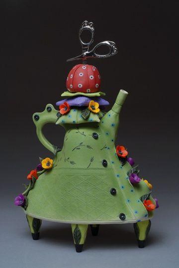 Laura Peery | Seamstress' Tea, 2007. Porcelain, Polymer Clay