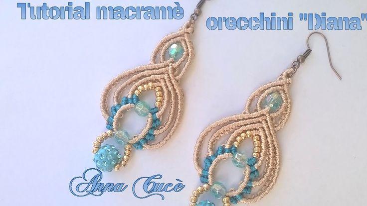 "Tutorial macramè orecchini ""Diana""/ Tutorial macramè earrings ""Diana""/ D..."