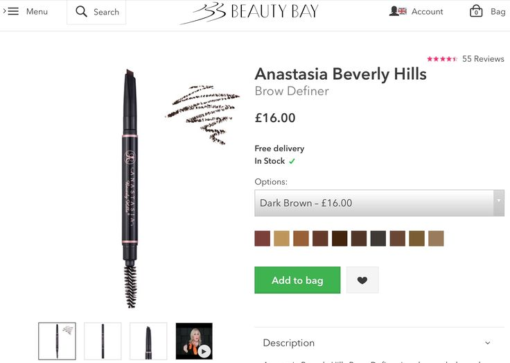 "Anastasia Beverly Hills broke definer in ""dark brown"""