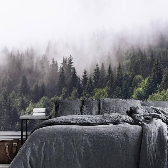 Foggy Forest Wallpaper Mural Peel And Stick Wall Paper Etsy Forest Mural Forest Wallpaper Forest Wall Mural