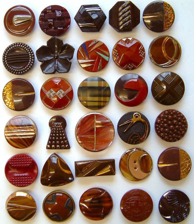 30 Vintage Large Dark Art Deco Glass Buttons, Shapes, Bird, Check, Candy Stripe                                                                                                                                                     More