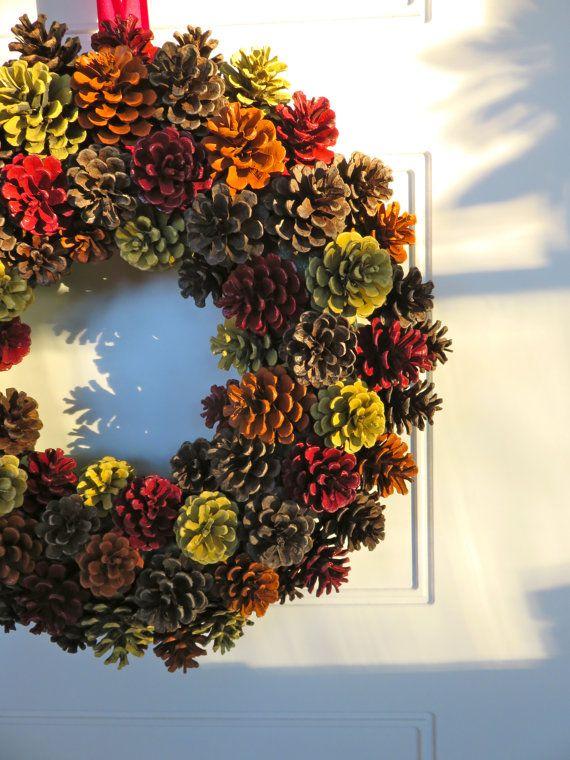 Vallen van Pinecone krans herfst krans, primitieve decor, herfst krans, kleinere…
