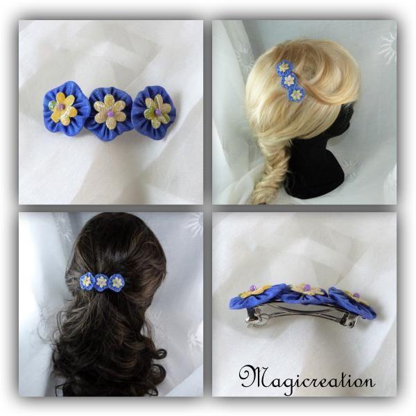 barrette cheveux fleurs soie bleu indigo coeur jaune