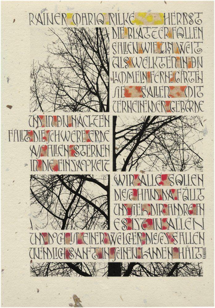 ✍️ Sensual Calligraphy Scripts ✍️ initials, typography styles and calligraphic art - Poema de Rilke