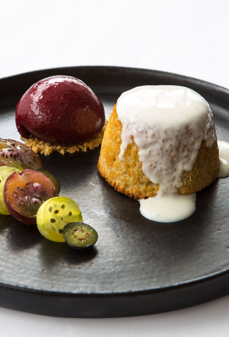 Gooseberry pudding, yoghurt and blueberry by Paul Welburn