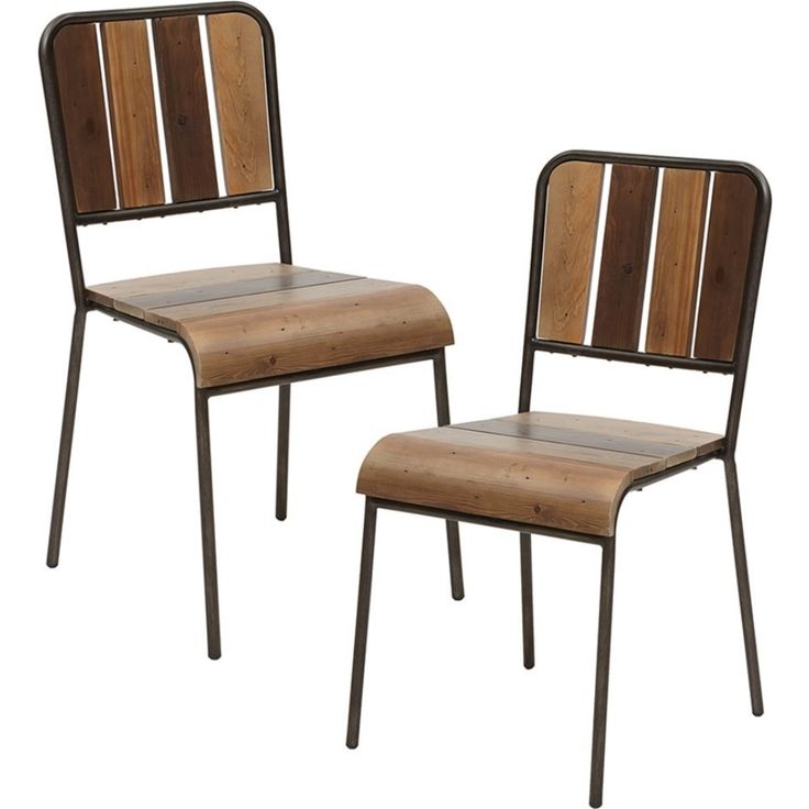 Dining Chair In Reclaimed Pine Planks Gun Metal Set Of 2 Dynamichome