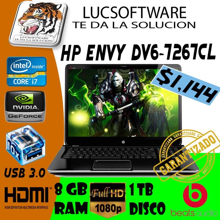 """NEW HP Envy dv6-7267CL PROCESADOR: Intel Core i7  MEMORIA RAM: 6GB RAM  DDR3 SDRAM DISCO DURO: 750GB SATA PANTALLA: 15.6"""" LED Brightview HD (1366 x 768) LECTOR: DVD-ROM DVD+/-RW TARJETA DE VIDEO: Nvidia GeForce GT 630M 2GB dedicada  PUERTOS: USB 3.0:4, RJ-45: 1,   Alimentación, Micrófono  Auricular, VGA (15-pin) : 1, HDMI: 1,  Lector de Huellas TECLADO: Teclado en ingles-Numerico incluido SISTEMA OPERATIVO: Windows 8 GARANTIA: 1 AÑO OBSEQUIOS: Mouse, Estuche, Teclado PRECIO: $ 1021 + IVA"""