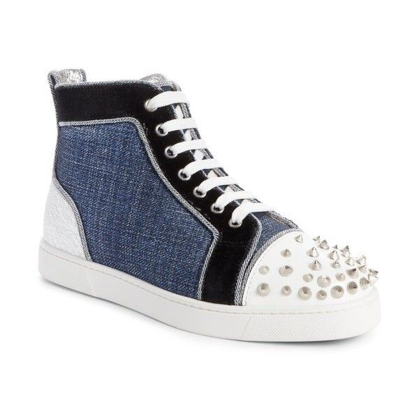 Women's Christian Louboutin Lou Degra Spiked High Top Sneaker (3.150 BRL) ❤ liked on Polyvore featuring shoes, sneakers, spiked shoes, christian louboutin sneakers, studded sneakers, high top leather shoes and spike trainer