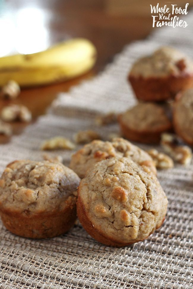 These Healthy Banana Muffins are naturally sweet with whole grains and chunky walnuts. My kids love them for breakfast, snacks, and as a lunchbox treat.    via /wholefoodrealfa/