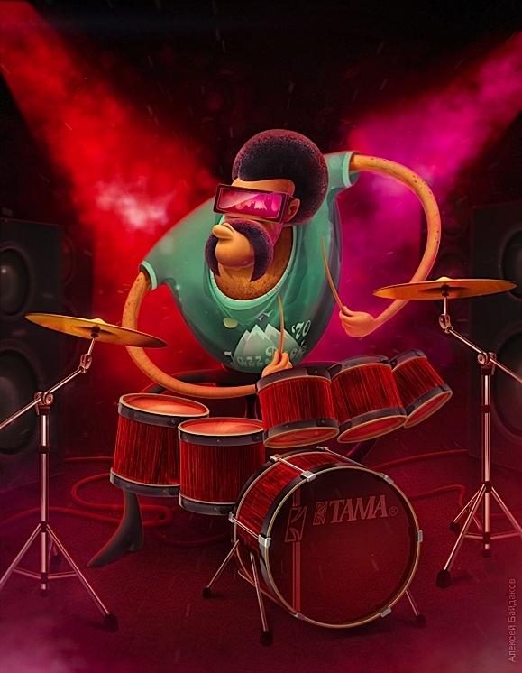 DrumsIllustration Mixed, Colors Illustration, Alexey Baydakov, Baydakov Aleksey, Band Illustration, Aleksey Baydakov, Blog Design, Behance Network, Alekseybaydakov