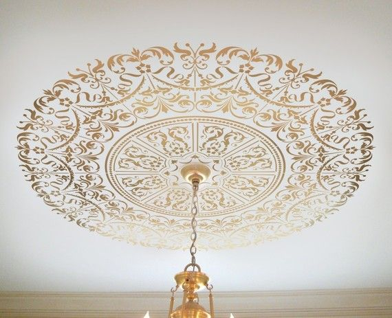 Decorative Stencil Georgian Ceiling Medallion - DIY home decor... from etsy