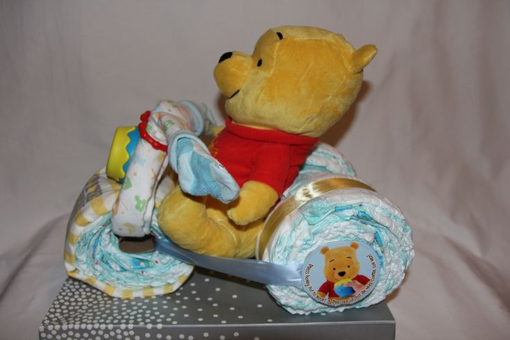 Winnie the Pooh Motorcycle Diaper Cake