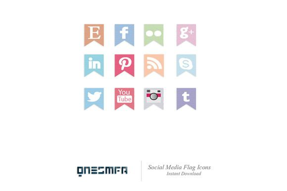 Check out Social Media Flag Icons (Colorful) by symufaplus on Creative Market