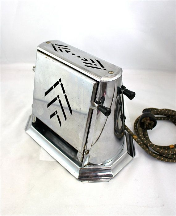 Vintage Art Deco Chevron Chrome Toaster Fold Down Sides ...