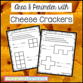 This product has 6 pages of fun math activities with area and perimeter! Students will use cheese crackers to measure squares, rectangles, and irregular shapes!
