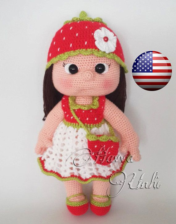 PATTERN  Mia Doll With Starwberry Dress crochet by HavvaDesigns