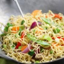 Vegan Ginger Lo Mein: Vegan lo mein photo by Getty Images / Crimson Monkey