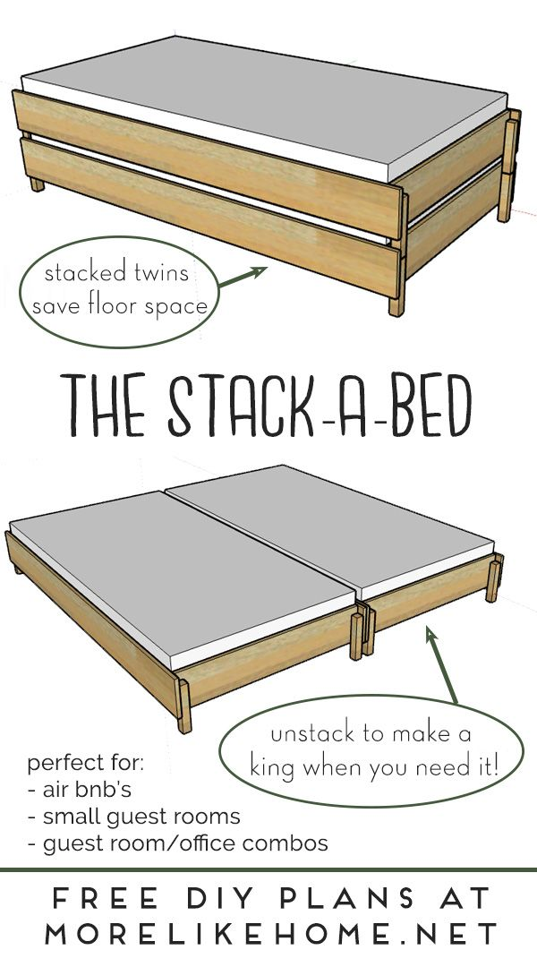 The Stack A Bed Converts From Twin To King Diy Twin Bed Diy Daybed Two Twin Beds