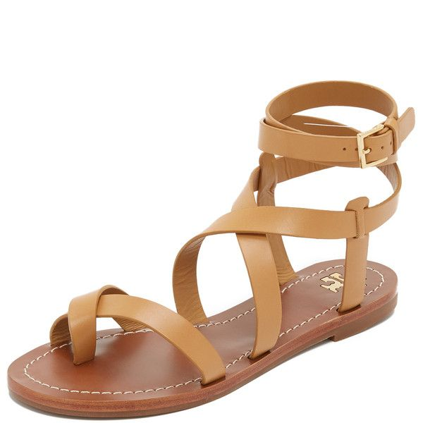 Tory Burch Patos Sandals ($160) ❤ liked on Polyvore featuring shoes, sandals, flat sandal, flats, blond, leather flats, leather gladiator sandals, criss-cross sandals, ankle wrap sandals and leather sandals