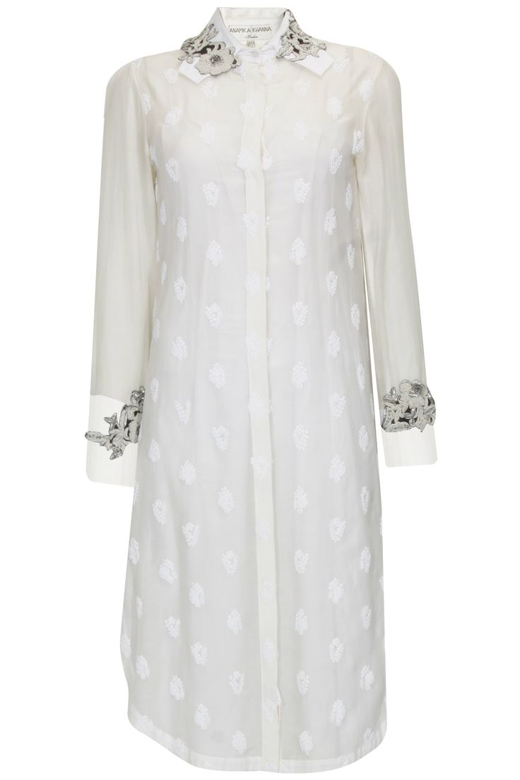 Anamika Khanna- Off white embroidered flower motifs sheer tunic available only at Pernia's Pop Up Shop..#perniaspopupshop #shopnow #pernias wardrobe #partyseason #happyshopping #designer #accessories #shopforacause