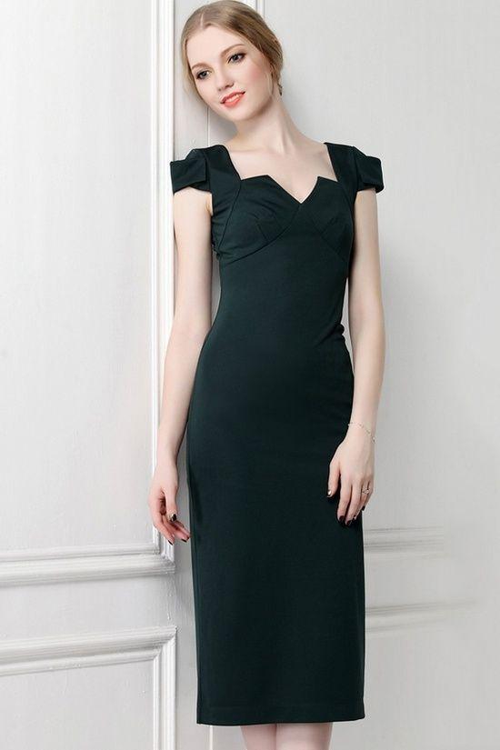 dark green bodycon dress
