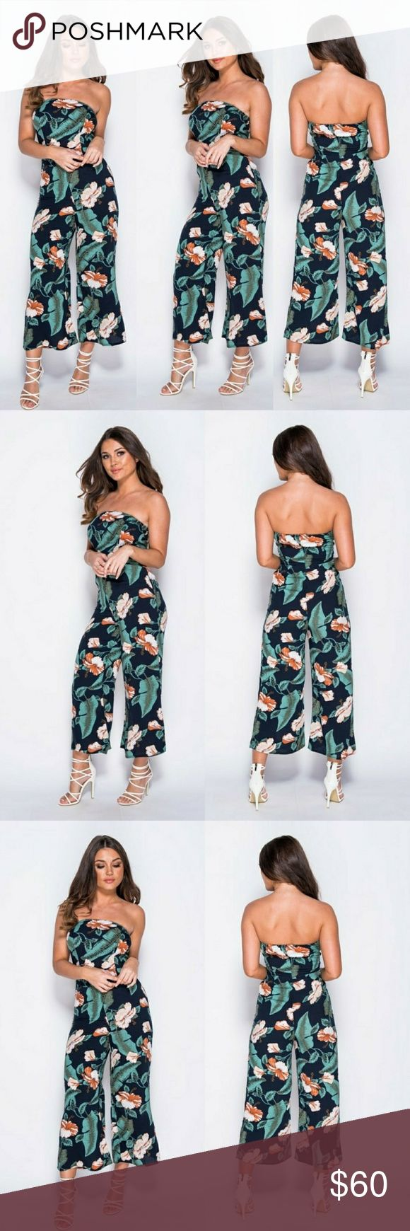 Floral print strapless jumpsuit Floral print strapless jumpsuit Wide leg flared trousers Cotton fabric Pants Jumpsuits & Rompers