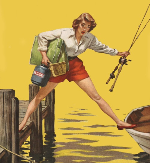 Vintage illustration. #woman #fishing