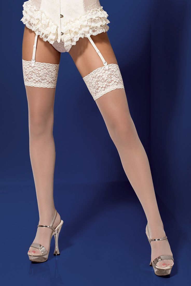S804 stockings || Outstanding stockings in a delicate ecru colour. || #obsessive #lingerie  #obsessivelingerie #stockings #garterstockings #spicy #ecru || obsessive.com