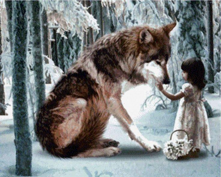 Девочка и волк - Схемы вышивки