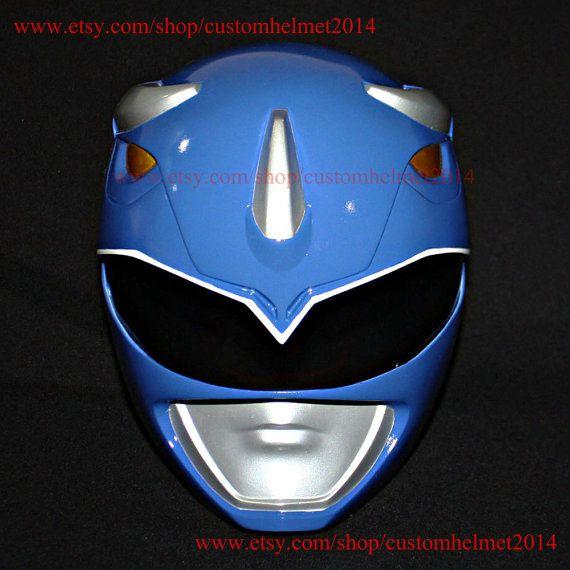 1:1 Scale Halloween Costume, Mighty Morphin Blue Power Ranger Helmet Costume Mask, Power Ranger Cosplay Blue Ranger PR14
