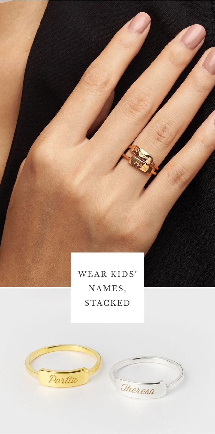 505cb20823 Engraved Name Bar Ring • Stackable Rings with Names • rings with names  engraved • gold name rings • name ring • personalized name ring • custom  name rings ...