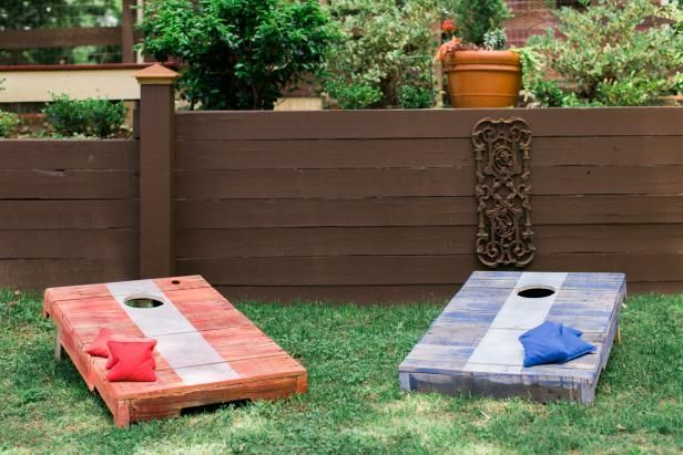 The entertaining experts at HGTV.com share a tutorial on constructing your own cornhole game board from discarded (free!) wood pallets.