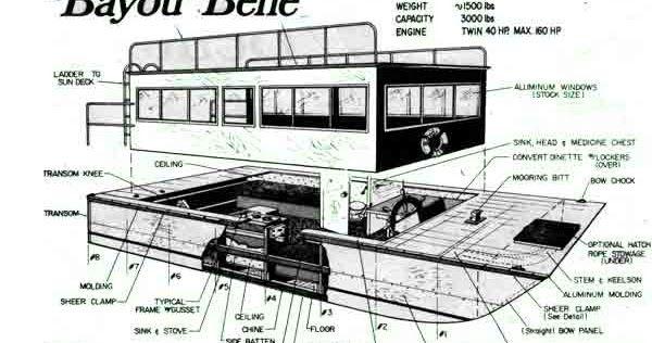 Download Bayou Belle Vintage Houseboat Plans In 2020 With Images
