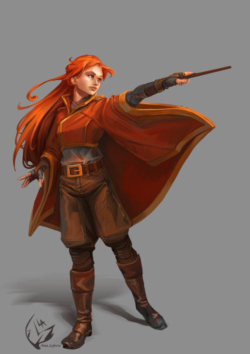 """alea-lefevre: """" Charadesign challenge of December and … well technically the 2nd drawing of 2017 George Weasley: """"You've never been on the receiving end of one of her Bat-Bogey Hexes, have you?"""" """""""