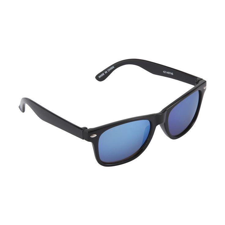 Wayfarer Mirrored Sunglasses - Black   Kmart