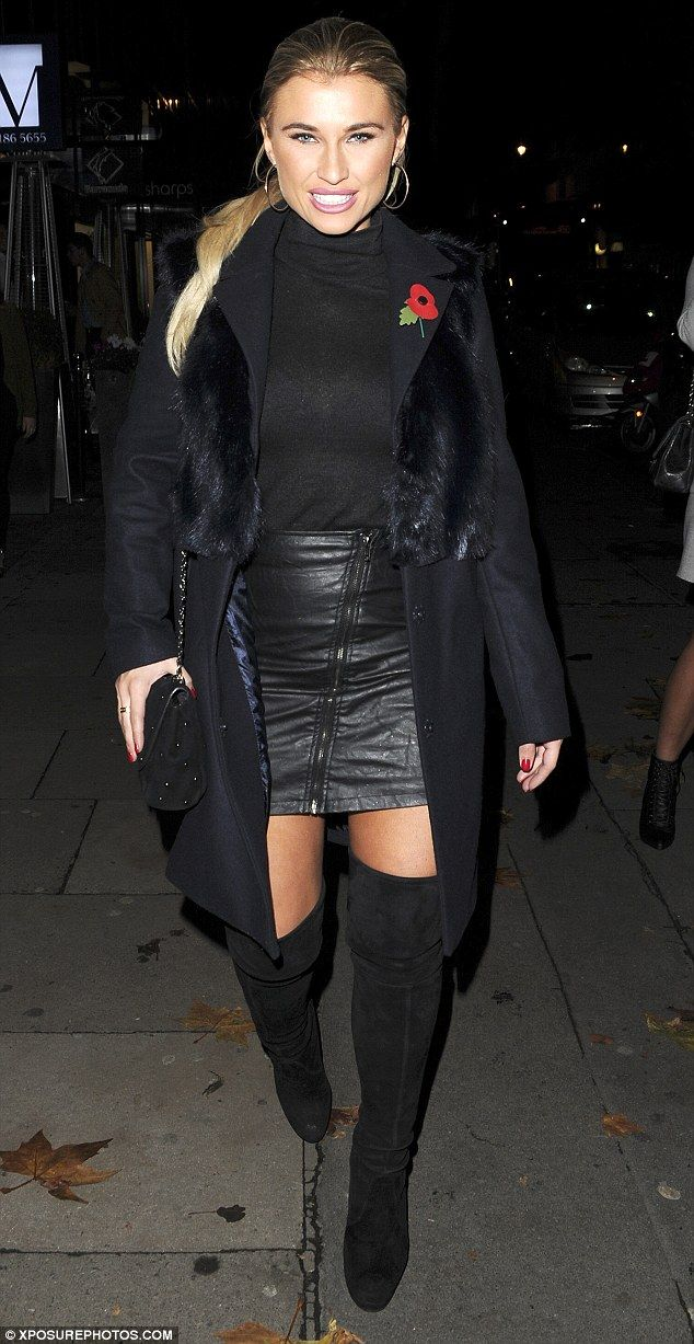 Billie Faiers Rocks A Short Leather For Night Out With