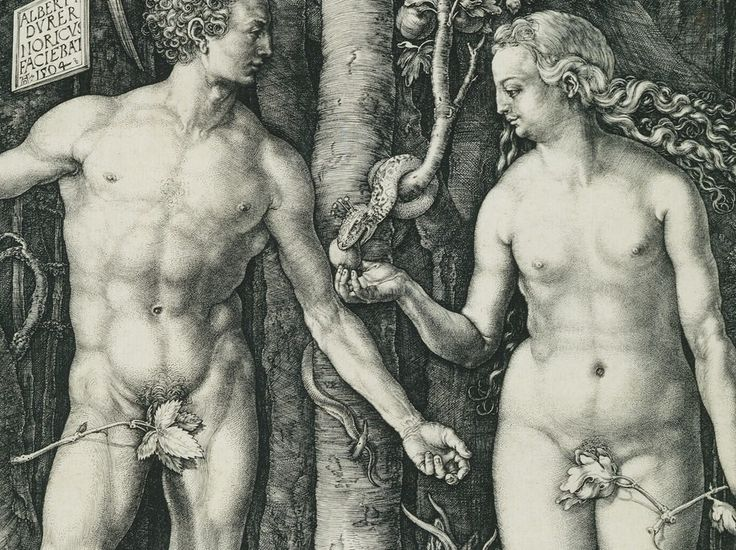 Working Title/Artist: Adam and Eve.Department: Drawings Prints.Culture/Period/Location: .HB/TOA Date Code: 08.Working Date: 1504.photography by mma 1997, transparency #1A.scanned and retouched by film and media (jn) 1_9_03 THEY HAVE BELLY BUTTONS/WEIRD!