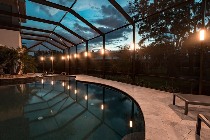 Elegant Pool Cage Lighting Installed Endless Color Combinations And Rich Vibrant Colors To Light Up Your Sc Lanai Lighting Pool Enclosure Lighting Pool Cage